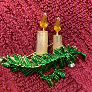 Christmas candle brooch of enamel and rhinestones